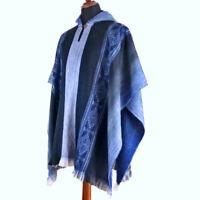 Lightweight BABY ALPACA Wool Hooded Poncho Pullover UNISEX Boho Ethnic Festival