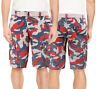 Men's Cotton  Army Multi Pocket Camo Cargo Shorts With Knitted Double Ring Belt