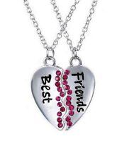 2 colliers pendentif cœur à séparer Best friends avec pierres rose + chaines.