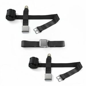 AMC AMX 1967 - 1974 Airplane 2pt Black Retractable Bench Seat Belt Kit - 3 Belts