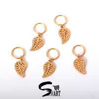 GOLD Leaf Charm Hair Rings For Braids Plaits Hair Accessories Pack of 5 10 20