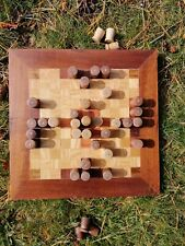 Viking Chess Board Game, 'Hnefatafl' Traditional Norse. Hand made oak & walnut