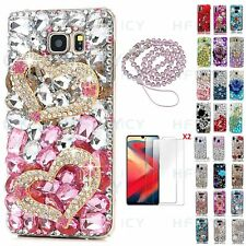 Women Bling Diamonds Pink Double Heart Phone Case With Crystals Strap & Tempered