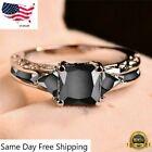 Women 925 Silver Rings Jewelry Black Sapphire Elegant Wedding Ring Gift Size5-11