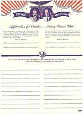 1948 Thomas Dewey Earl Warren Charter Club Membership Application ALL 48 IN '48!