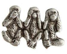 "(#233) SPEAK SEE HEAR NO EVIL Monkeys Pewter Vest / Hat Pin 1.5"" x 1"" (A298)"