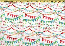 HIP HIP HOORAY PARTY TIME Celebrate 100% Cotton Fabric TIMELESS TREASURES - BTY