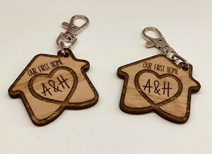 SET OF 2 x PERSONALISED OAK WOODEN KEYRINGS OUR FIRST HOME HOUSE WARMING GIFT