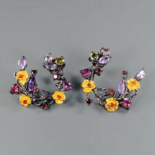 Fine Art SET Natural Amethyst 925 Sterling Silver Earrings /E29286