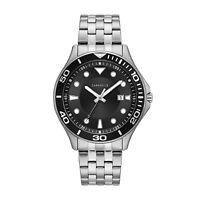 Caravelle Men's Quartz Calendar Black Dial Silver-Tone Band 42mm Watch 43B162