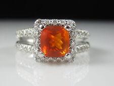 18K Mexican Fire Opal Diamond Ring White Gold Halo Split Shank Designer Size 9