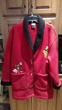 Vtg Women's Disney Red Fleece Coat Winnie the Pooh & Tigger Too Size L