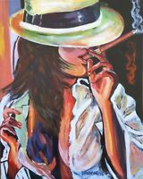 Cohiba Cigar Whiskey Babe Original Art Painting DAN BYL Contemporary Modern 4x5'