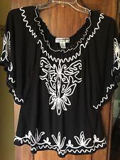 Lauren Michelle Angel Sleeve XL Blouse Top Shirt Black White Lightweight