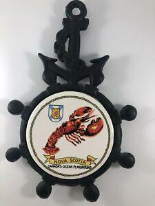 Nautical Cast Iron Tile Anchor Lobster Ship Steering Wheel Trivet Nova Scotia