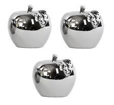 3x Apfel Dekofigur Silber Dekoration Figur Skulptur Äpfel Apple Deko Obst Modern