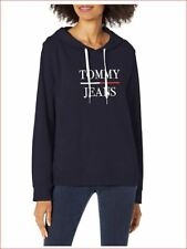 new TOMMY HILFIGER women sweatshirt hoodie T12H0CFE navy cotton blend sz L