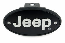 Jeep Receiver Hitch Cover Plug - Black - Silver Engraving - Made in USA
