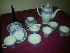 Vintage WOOD & SONS BURSLEM ALPINE WHITE 1940s Coffee Set 14 Piece LUCERNE