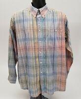 Orvis Men's Seersucker Shirt Size Medium Multi-Color Red Green Blue Plaid