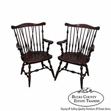 ethan allen solid pine pair of duxbury windsor arm chairs