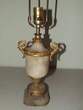 Vintage Mid Century Alabaster Marble Gold Gilded Vase Urn Table Lamp