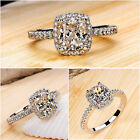 Fashion Womens Zircon White Sapphire Silver Plated Wedding Ring Size 6-9 Jewelry