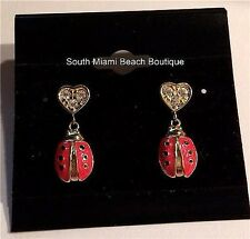 Gold Plated Ladybug Pierced Earrings Dangle Insect Enamel Crystal Heart Lady Bug