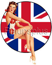Sexy Pinup Girl Union Jack British Flag Waterslide Decal Sticker High Heels S47