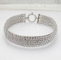 "8"" Diamond Cut Interlocked Mesh Chain Bracelet Anti-Tarnish Solid 925 Silver"
