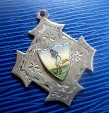 Victorian Silver & Enamel Football Fob Medal h/m 1889 Birmingham -  not engraved