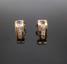 9ct yellow gold diamond and synthetic pink stones drop earrings 375