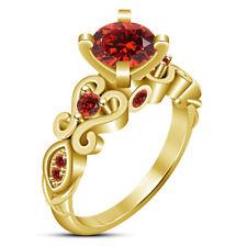 Red Garnet Engagement Wedding Ring 14K Yellow Gold Finish 1.50 Ct