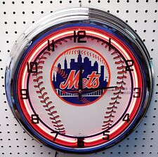 "17"" New York METS Sign Neon Clock NY"