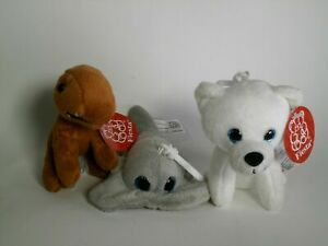 Polar Bear T-REX and Sting Ray Key Chains Plush Stuffed Animal Toy Fiesta New