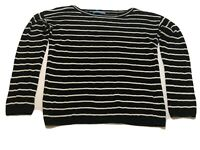 Alice + Olivia  Black White Striped Pullover Sweater Women's Large Linen Blend