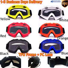 Clear Lens Motorcycle Goggles Bendable Dirt Bike Motocross ATV MX Riding Glasses
