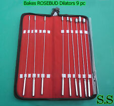 BAKES RoseBud Urethral Sounds Dilator 9 pcs Set Surgical Stainless Steel