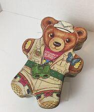 "Collectible Safari Teddy Bear Tin -7"" Tall Euc"