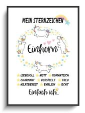 Kunstdruck A4 Einhorn Sternzeichen Geschenk Freundin Wandbild Deko Poster Zimmer