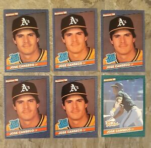1986 Donruss Jose Canseco Rookie card lot of 5 Rated Rookie and 1 The Rookies
