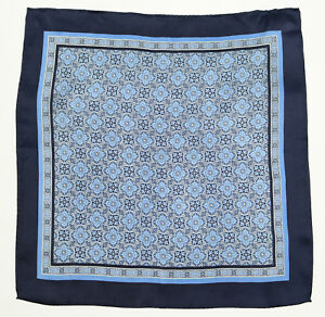 New Mens Bloomingdales 100% Silk Navy Blue Medallion Handkerchief Pocket Square