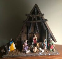 Vintage Nativity Set Wood Creche Rustic 10 Figures Paper Mache with light Italy