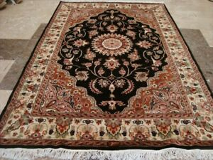 Brown Choco Fine Floral Medallion Hand Knotted Rug Wool Silk Carpet (6 x 4)'