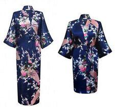 New Silk Short/long Wedding Bride Bridesmaid Women Floral Bathrobe Kimono Robe