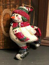 Midwest Cannon Falls Pam Schifferl Folk Art Snowman Skating Ornament Skates Ps