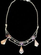 Kanupriya Rose Quartz, Amethyst & White Topaz Butterfly Sterling Necklace NWT