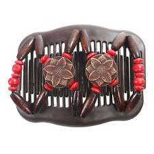 Women's Magic Wooden Stretchy EZ Double Beads Hair Slide Clips Comb Accessories
