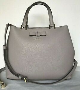 New Kate Spade New York Gwyn Pershing Street Leather Satchel Grey