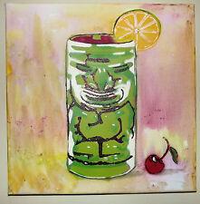 "Tiki Cups ""cherry"" Original Graffiti Spray Paint Pop Art 1ofakind Ready to Hang"